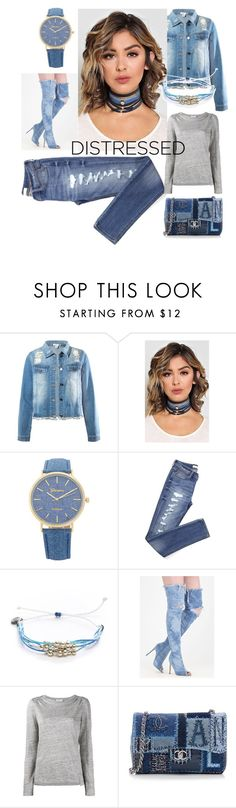 """""""#distresseddenim"""" by amiraahmetovic ❤ liked on Polyvore featuring Sans Souci, Pura Vida, Frame and Chanel"""