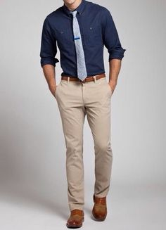 navy blazer. light blue chambray shirt. khaki pants. light brown ...