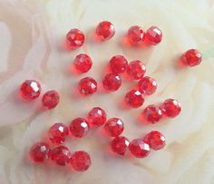 Red AB Czech Beads Lot of 10 8mm Glass Beads Beading