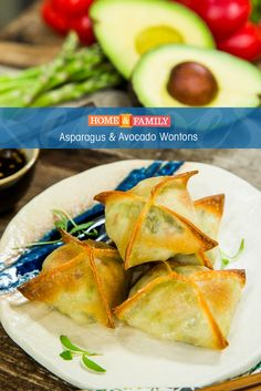 Asparagus & Avocado Wontons -  Get your kids to eat more veggies by hiding them in a delicious wonton! Recipe by Gail Simmons on Home and Family!
