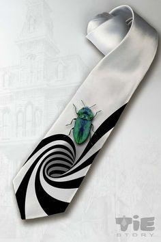 Beetlejuice necktie. Gothic horror necktie.  Tim by tiestory