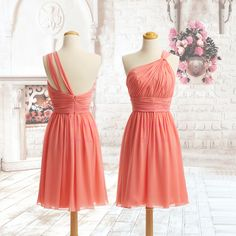 Best-Selling Elegant One Shoulder Pleated Chiffon Knee Length Homecoming Dresses/Custom Colour/Custom Size $68.00