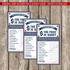 Baseball Baby Shower The Price is Right Game by LittleMsShutterbug
