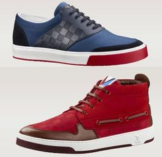 Louis Vuitton Spring Summer 2014 Men's Propellor Sneaker Boot: The propellor is a high-top sneaker boot crafted from nubuck calf leather, embossed with the iconic Damier pattern and distinguished by its boat shoe-style leather lacing. Available in two colorways, navy and red