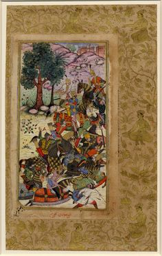 Babur and his men drive the Uzbeks toward Samarkand. The soldiers at the top stop to gaze upon a probable spring, while the others flee towards Samarkand 1497