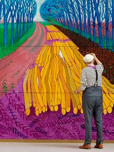 "David Hockney Painting ""Winter Timber"" in Bridlington, 2009 Arte Pop, Peter Blake, Illustration Arte, Illustrations, Artist Art, Artist At Work, Artist Painting, David Hockney Art, David Hockney Ipad"
