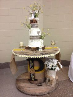 Wedding Cakes Rustic wedding cake with a custom wooden rustic cake stand Rustic Wedding Showers, Rustic Wedding Reception, Wedding Cake Rustic, Cool Wedding Cakes, Wedding Ideas, Wedding Stuff, Dream Wedding, Camo Wedding, Wedding Designs