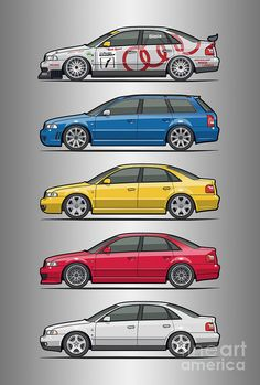 Stack Of Audi A4 B5 Type 8d Digital Art by Monkey Crisis On Mars