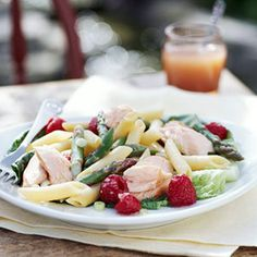 For this main-dish salad recipe, toss a raspberry mustard dressing with cooked pasta, salmon, and asparagus and then chill. At serving time, add fresh raspberries for color and sweetness.