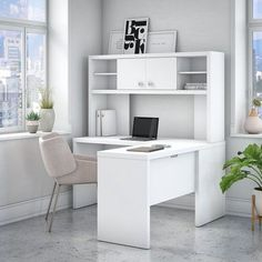 kathy Ireland® Office by Bush Furniture - Echo Credenza Desk w/ Hutch & Mobile File Cabinet in Pure WhiteThe Office by kathy ireland® Echo Credenza Desk with Hutch and Mobile File Cabinet offers an elegant, functional design to inspire to White Office Furniture, White Desk Office, Office Furniture Stores, Office Set, White Desks, Business Furniture, Furniture Deals, Office Decor, Office Ideas