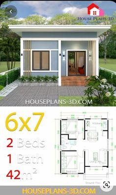 2 Bedroom House Design, House Floor Design, 2 Bedroom House Plans, Simple House Design, Bungalow House Design, Bungalow Homes, Design Bathroom, Design Kitchen, Simple House Plans