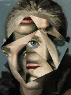 Jeremy Olsen Three from the collage painting series 'Fractal Face'. Untitled, 2009, oil on wood