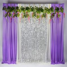 Kate Purple White With Silver Glitter Ice Silk Background Curtains Silver Sequins Cloth Decoration for Wedding Party Decor Cloth Prop Stage Backgrounds - Party // Purple and Silver // Birthday - Purple Party Decorations, Wedding Stage Decorations, Backdrop Decorations, Bridal Shower Decorations, Backdrops, Backdrop Ideas, Tulle Backdrop, Flower Backdrop, Purple Wedding