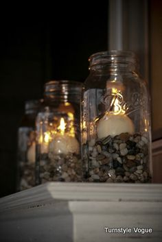 Fun Uses For Mason Jars - I have done something very similar to this with smaller jars and tealights.