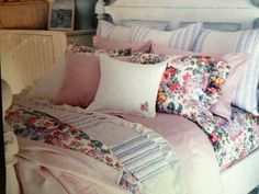 Ralph Lauren 's Allison Floral with blue and white quilting and pink sheets