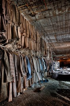 in an old abandoned clothing factory in Maryland... It is crazy how they left all the clothing behind