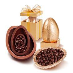 Chocolat du Jour - Linha Pratigi vem com três ovos, um dentro do outro, nos sabores chocolate ao Leite com 45% de cacau, meio amargo com 53% e amargo com 70% (R$ 215)