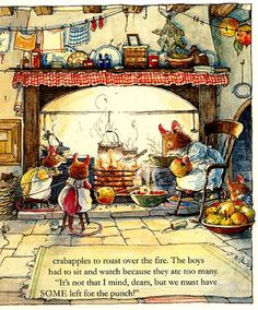 Clover and Catkin helped Mrs. Apple string crabapples to roast over the fire.