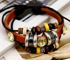 1pc Retro rope leather mens bracelets leather rope hand woven bracelet for men rope braided bracelet male female bracelet Jewelry