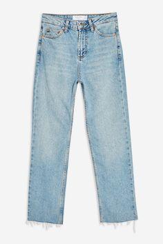 Topshop Authentic Raw Hem Straight Leg Jeans - Women Denim Pants on YOOX. The best online selection of Denim Pants Topshop. Ripped Jeggings, Ripped Skinny Jeans, Denim Suit, Denim Pants, Outfit Jeans, Raw Jeans, Black Jeans, Jeans Price, Straight Cut Jeans