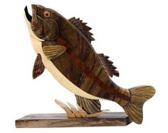1 of 2 - Largemouth Bass Fish Intarsia Wood Table Top Home Decor Lodge Fishing New