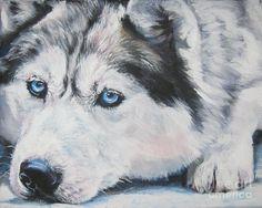 Siberian Husky Up Close Painting - Siberian Husky Up Close Fine Art Print