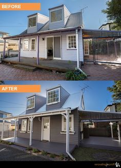 #facade #outdoorliving #renovation  See more exciting projects at: www.renovatingforprofit.com.au Exterior Homes, Exterior House Colors, Home Renovation, Home Remodeling, Renovating For Profit, House Flips, House Improvements, Outdoor Living, Outdoor Decor