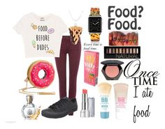 """Because Food is Life."" by friends1100 ❤ liked on Polyvore featuring 7 For All Mankind, Skechers, Betsey Johnson, Casetify, Revlon, Maybelline, H&M, Forever 21 and Once Upon a Time"