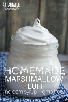 Homemade marshmallow fluff recipe with natural ingredients. No corn syrup, non-gmo. Use it in holiday fudge recipes or in a peanut butter fluff sandwich. Homemade marshmallow fluff recipe with natural ingredients. No corn syrup, n Marshmallow Fluff Frosting, Homemade Marshmallow Fluff, Homemade Marshmallows, Marshmallow Recipe No Corn Syrup, Homemade Corn Syrup Recipe, Recipes With Marshmallow Fluff, Recipes With Marshmallows, Marshmallow Desserts, How To Make Marshmallows