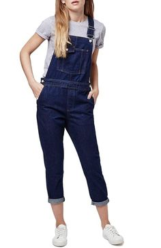 Topshop Moto Slim Fit Overalls (Indigo) (Petite) available at #Nordstrom