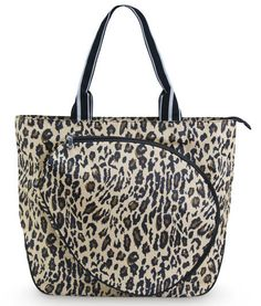This great tennis tote features a large exterior pocket perfect for storing up to 2 full size tennis racquets, a comfortable webbed shoulder strap, and ample interior pockets for balls and other necessities. All For Color Ladies Tennis Classic Leopard Tote Bags. #tennis #tennisplayers #tennisgear #bags #tote #leopard #animalprints #lorisgolfshoppe