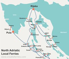 Map of Local Ferries in North Adriatic, Croatia Croatian Islands, Enchanted Island, Adriatic Sea, Road Trippin, Adventure Is Out There, Archipelago, Vacation Trips, Places To Visit, Coast