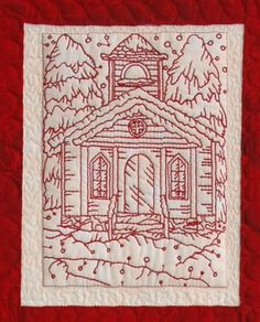 Advanced Embroidery Designs. Free Projects and Ideas. Christmas Eve Wall Quilt with redwork embroidery.