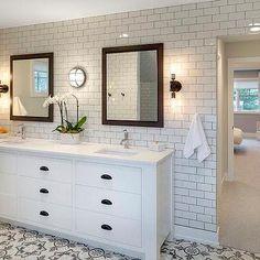 White Master bathroom with Gray Concrete Tile Floor