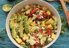 Mango Lime Quinoa Salad - A Perfect Vegetarian Easy Summer Salad Healthy Stew Recipes, Healthy Soup, Salad Recipes, Lime Quinoa Salad, Easy Summer Salads, Soups And Stews, Entrees, Mango, Vegetarian