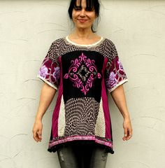 Magical embroidered dress tunic. Made from recycled clothing ( India salwar kameez). Hippie boho art style. Oe of a kind.  Size: Bust line max 43