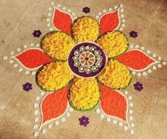 Quick and Easy Rangoli Ideas for Diwali 2019 you would love to copy from 22 Quick and Easy Rangoli Ideas for Diwali 2018 you would love to copy from Rangoli Designs Simple Diwali, Rangoli Designs Latest, Small Rangoli Design, Colorful Rangoli Designs, Rangoli Ideas, Beautiful Rangoli Designs, Kolam Designs, Easy Rangoli For Diwali, Diwali Designs