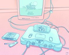 Pastel nintendo discovered by bean cute on we heart it Aesthetic Header, Pink Aesthetic, Aesthetic Anime, Aesthetic Pics, Fred Instagram, Grafiti, Ligne Claire, Doja Cat, Pokemon