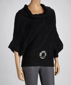 Take a look at this Black Belted Sweater by Seeking Warmth: Women's Sweaters on @zulily today!