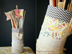 DIY: scrap fabric canisters