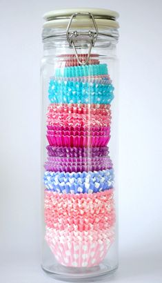 Need a place to store all of your cupcake papers? How about in a spaghetti jar.