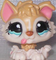 LITTLEST PET SHOP Husky Puppy Dog #1013 TAN, CREAM & PINK BABY BLUE EYES