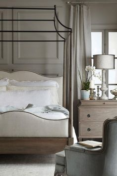 Bernhardt   Auberge Poster Bed with Metal Canopy, weathered oak, linen, metal. Auberge Chest. Creston Chair.