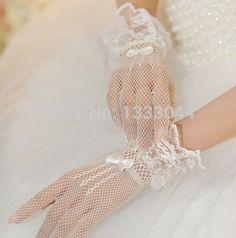 Malha rendas luvas curtas luvas de noiva luvas de casamento grátis frete atacado coréia do estilo luvas de casamento em Luvas para Noiva de Casamentos e Eventos no AliExpress.com | Alibaba Group