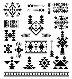 Vector patterns of American Indians Aztec tribal ethnic elements. Vector patterns of American Indians Native American Patterns, Native American Symbols, Native American Design, Native Design, Indian Patterns, American Indians, Aztec Tribal Patterns, Aztec Symbols, Viking Symbols