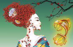 Geisha con pez. Ilust Corel Draw X5