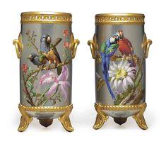 c1880 A PAIR OF PARIS PORCELAIN PLATINUM-GROUND RETICULATED VASES   CIRCA 1880, RAISED SUNBURST PAD MARK AND MODEL NO. 510, INDISTINCT BLACK PAINTED MARKS TO THE UNDERSIDE, SIGNED N. VIVIEN  Price realised  USD 15,000 Big Vases, Vase Crafts, Paris, Clay Vase, Wooden Vase, Clear Glass Vases, Vases Decor, Vase Centerpieces, Pottery Vase