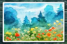 Watercolor Vector Landscapes set#2 by AlexGreenArt on @creativemarket