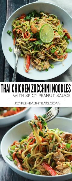 Zoodles are the star in this easy 15 minute Thai Chicken Zucchini Noodles recipe with Spicy Peanut Sauce only 363 calories and packed with a punch of flavor! Dairy-free, gluten-free, paleo recipe (make with GF soy sauce) Zucchini Noodle Recipes, Chicken Zucchini, Zoodle Recipes, Spiralizer Recipes, Thai Chicken, Best Zoodle Recipe, Veggetti Recipes, Diced Chicken, Chicken Broccoli