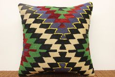 Modern kilim pillow cover 16 x 16 Striped Kilim by kilimwarehouse, $45.00